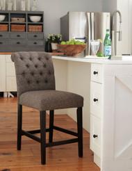 Tripton Graphite Upholstered Barstool