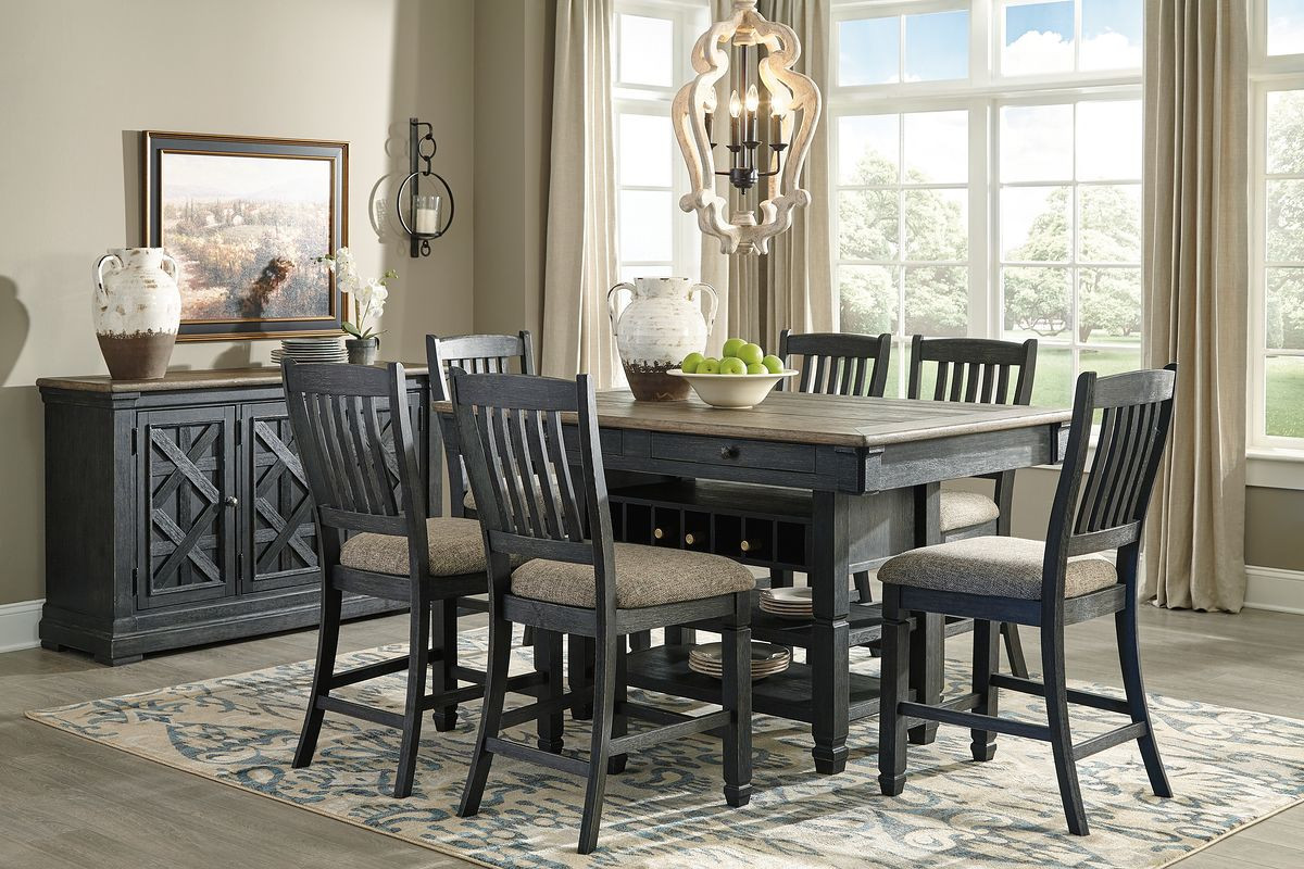 The Tyler Creek Black Gray 8 Pc Rectangular Counter Height Dining Set Sold At Bailey S Furniture Serving Dallas Tx And Surrounding Areas