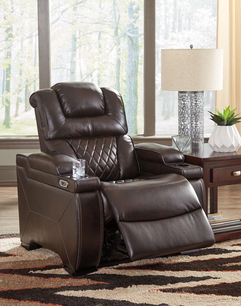 Groovy Warnerton Chocolate Power Recliner Adjustable Headrest Short Links Chair Design For Home Short Linksinfo