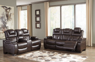 Warnerton Chocolate Power Reclining Sofa & Loveseat