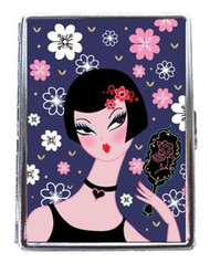 Pin Up Girl Vanite Pink Flowers Business Card Holder/Metal ID Case