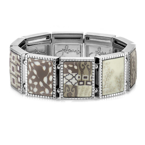 Square Stretch Bracelet in the ever popular Latte design handcrafted by the artisans at Jilzarah