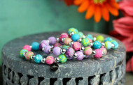 Beautifully designed hand rolled polymer clay beads with silverball spacers