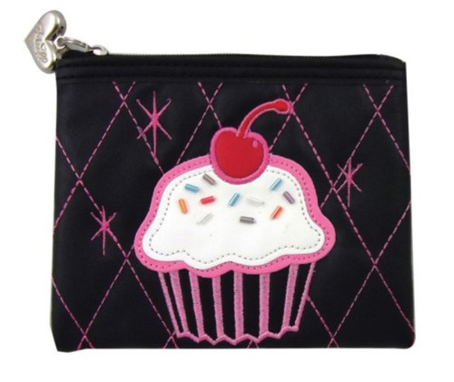 Fluff's Cherry on Top zippered coin purse. Black and pink with a red cherry on top!