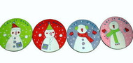 Snowman Coaster Set Christmas Holiday Red Green Purple Pink Frosty Teacher Gift