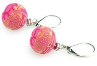 JILZARA Earrings Premium Clay Beads TEA BERRY PINK Medium 12mm Free Gift Box NEW