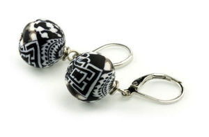 Black & White 12mm Bead  - Classic Earrings with lever back closure Ships with free gift box!