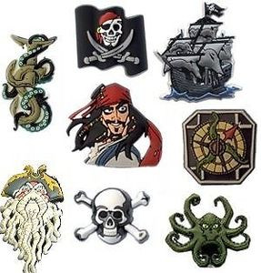 Choose your favorite pirate Jibbitz from several designs, including Disney's Pirates of the Caribbean charms.
