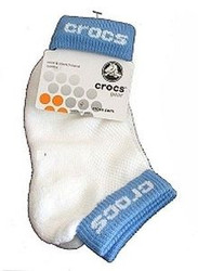 CROCS WHITE YELLOW NAVY BLUE LOW ANKLE SOCKS Kids 6-12 or 12-4 FREE BONUS