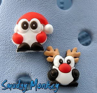 Santa and Rudolph The Penguin Christmas Jibbitz for your Crocs