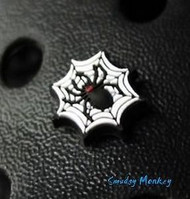 Halloween Jibbitz for your Crocs shoes!  Authentic Black Widow Spider in her web.