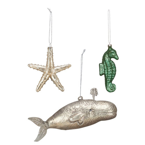 Save when you buy 3 sea life ornaments: Starfish, Seahorse and Large Spouting Whale