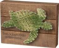 "Sea Turtle String Art Box Sign ""The Ocean Fixes Everything"""