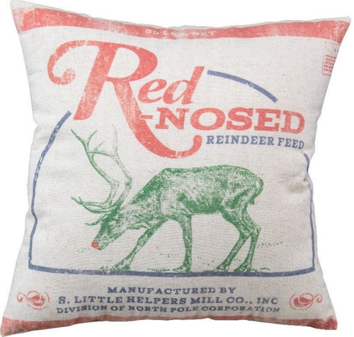 """Red-Nosed Reindeer Feed Sack Christmas Throw Pillow 16"""" x 16"""""""