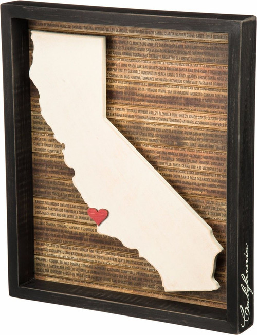 California State Silhouette with red adhesive sticker heart