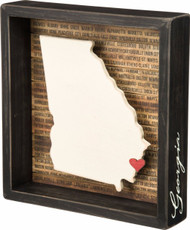 Georgia Black Wood State Silhouette Box Sign