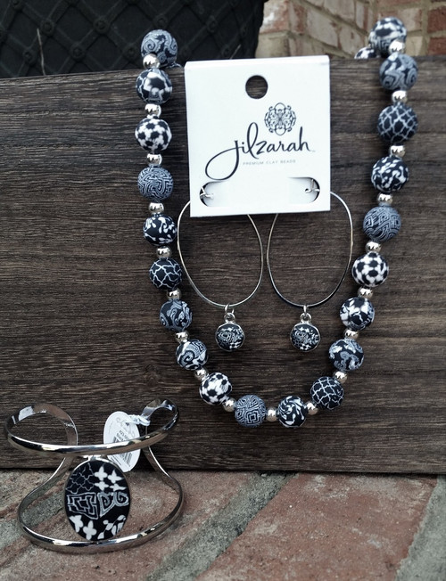 Jilzarah Black White Gift Set includes Silverball Necklace, Cuff Bracelet, Passion Hoop Earrings