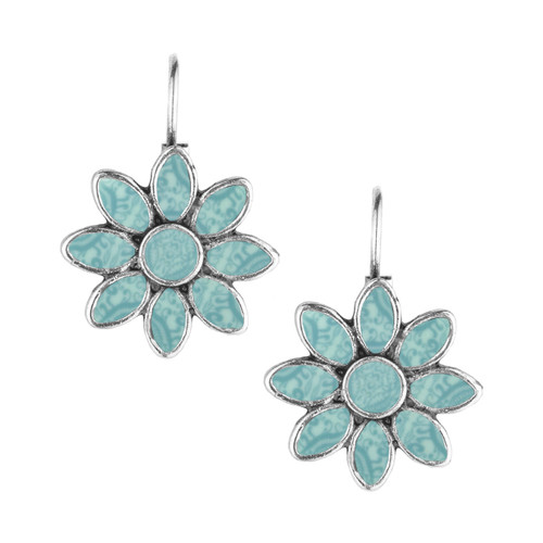 Mandala Blue Bohemian Style Flower Earrings from Jilzarah