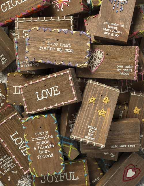 Stitched Block Wooden Refrigerator Magnets - cute as a button!  Makes a great add on gift.