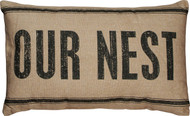 Our Nest Throw Pillow - Primitives By Kathy #19069 Dark Linen Black Lettering and Stripes