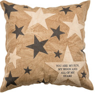 You Are My Sun Decorative Throw Pillow, Primitives By Kathy.  Tan, Brown, Navy With Appliqued Stars.
