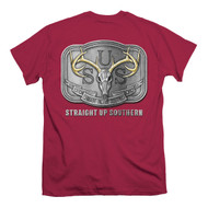 Garnet Red Deer Skull Silver Buckle Tee from Straight Up Southern