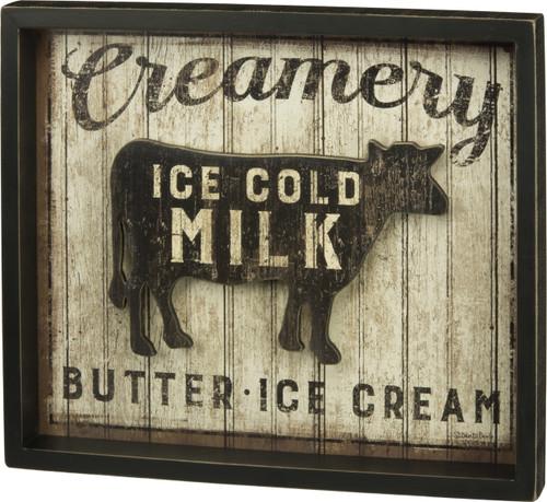 Urban Farmhouse Wood Sign Creamery Cow