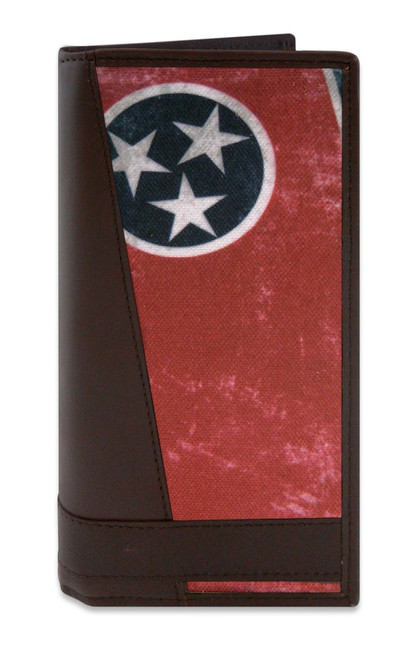Tennessee Vintage State Flag Roper Wallet. Brown Leather Checkbook Style Men's Wallet. Great Gift Idea for Dad's and Grads!