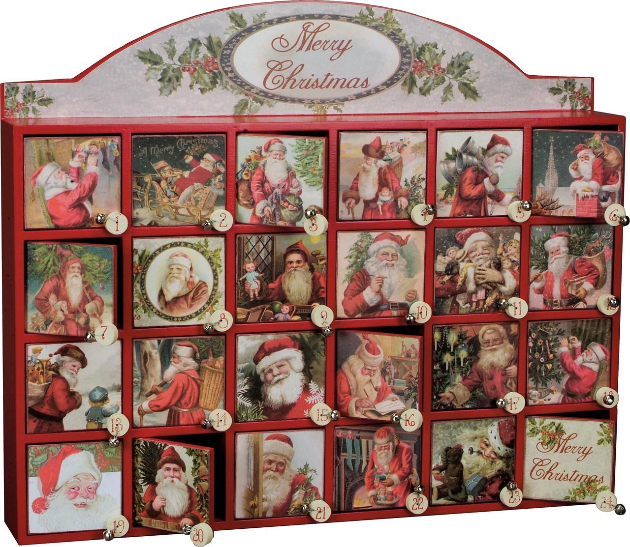 Christmas Countdown Wood Advent Calendar Old World Merry Santas