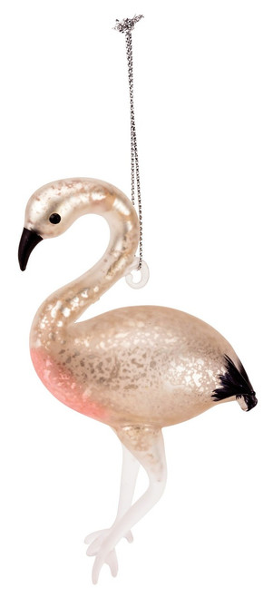 Glass Flamingo Christmas Ornament in blush pink will grace your tree beautifully.