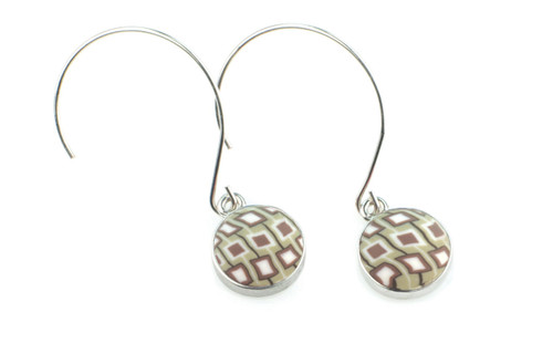 Latte Silver Hoop Round Charm Inlay Earrings by Jizarah - see store for coordinating bracelets!