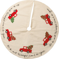 Vintage Red Truck With Tree Christmas Tree Skirt - It's The Most Wonderful Time of The Year!