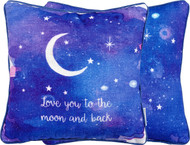 Moon and Back Pillow with gorgeous water color art from American Dream House