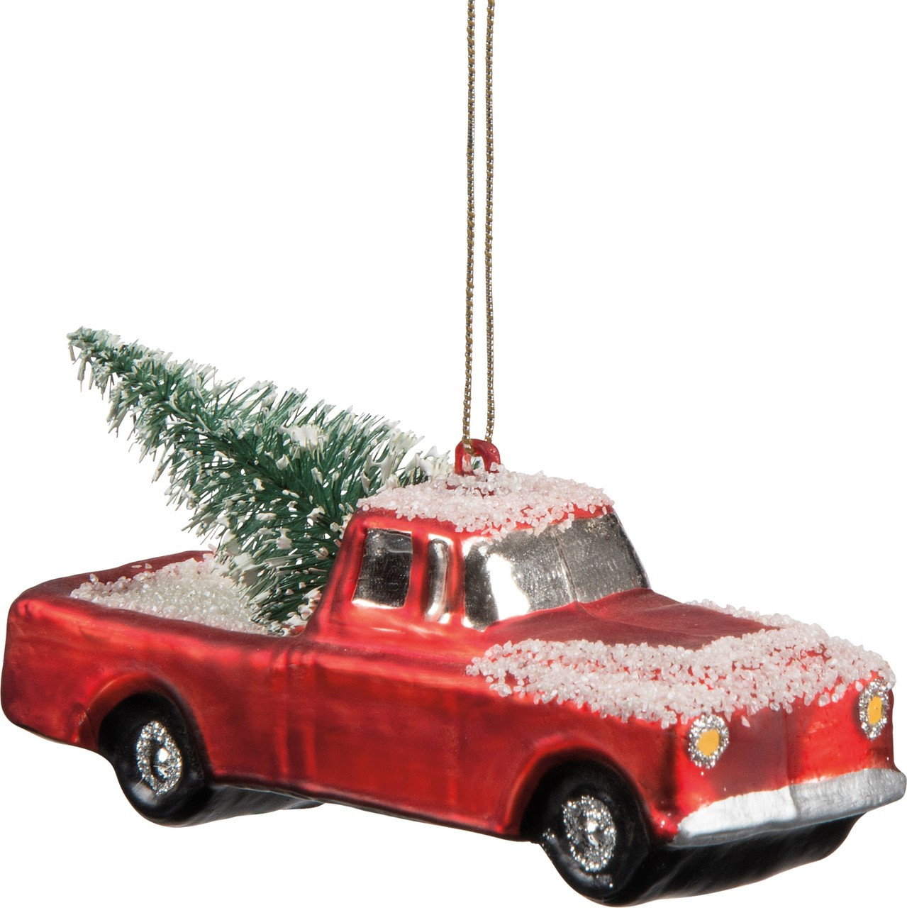 Vintage Red Truck Christmas Decor.Vintage Red Pickup Truck Glass Christmas Ornament