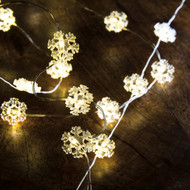 100 Snowflake Wire Lights - Battery Powered w/Timer