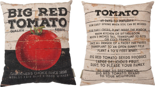 "Big Red Tomato Farm and Garden Pillow from Primitives By Kathy measures a generous 16x18"" and is made from cotton and linen materials."