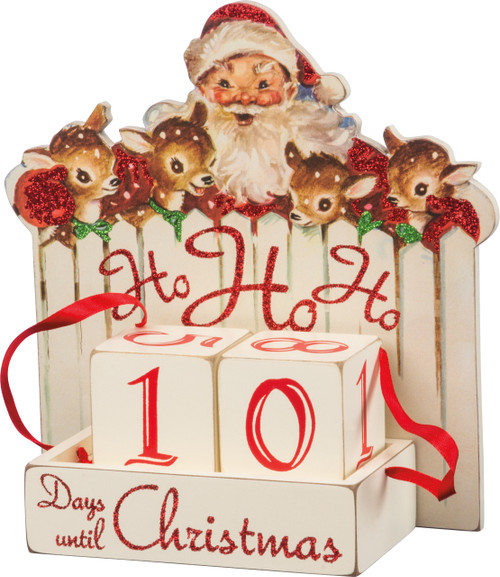 Vintage style Santa with reindeer. Wooden Christmas countdown advent calendar.