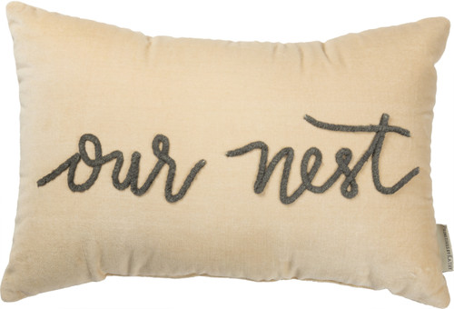 Our Nest Velvet Throw Pillow from Primitives By Kathy with corded script writing