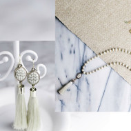 Jilzarah's white linen tassel gift set includes long and lovely beaded necklace with matching earrings