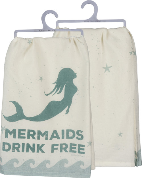Primitives By Kathy LOL Mermaids Drink Free Cotton Dish Towel with wave border and starfish design