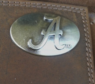 "ZEP-PRO's Crazy Horse Leather TRI-FOLD wallet with metal Alabama ""A"" concho"