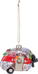 Glass ornament camper decordated for Christmas from Primitives By Kathy