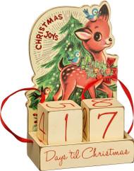 Vintage style reindeer. Christmas Joys! Wooden Christmas countdown block calendar.