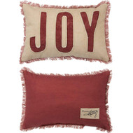 Joy applique with frayed detailing and fringed edges.  This little throw pillow is big on character.
