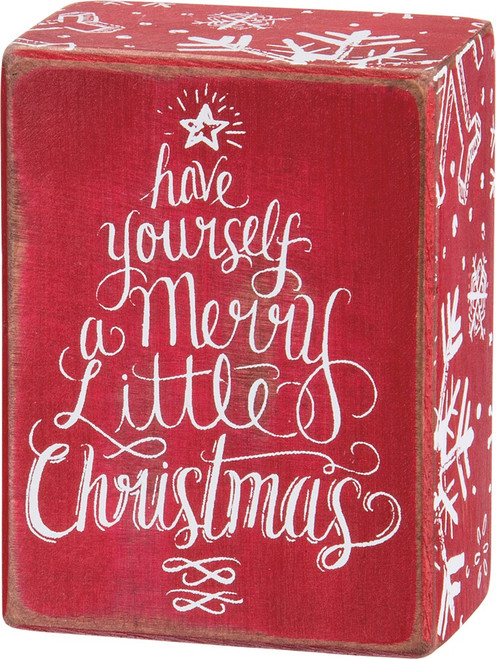 Have Yourself A Merry Little Christmas Red & White Wooden Box Sign; Shelf Sitter