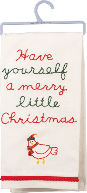 Have Yourself A Merry Little Christmas dish towel exclusively designed for Primtives By Kathy