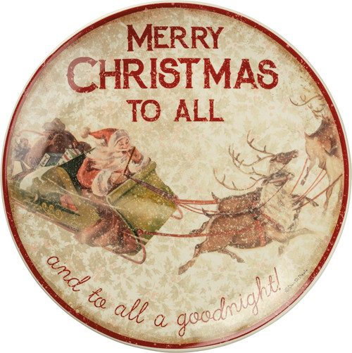 Old World Santa exlaims Merry Christmas To All And To All A Good Night on this lovely cookie platter