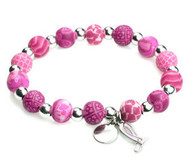 JILZARA Pink Ribbon Petite Silverball Breast Cancer Awareness Bracelet Clay Bead