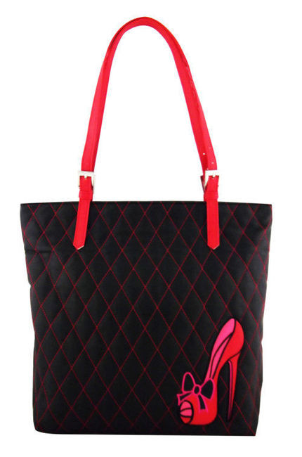 Fluff's Red Stiletto Shoe Tote is vegan friendly black quilted faux leather with red straps