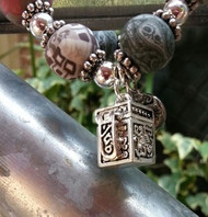 JILZARA Silver Prayer Box Bracelet Brown Black Taupe Earth Tone 12mm Clay Beads